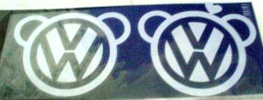 Car Sticker Decal Emblem WHITE Cute Bear Volkswagen VW