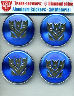 Car Emblem Badge Transformers Decepticon 4 Pcs BLUE US.
