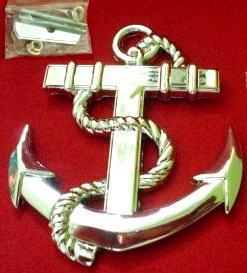 Car Front Grille Emblem Badge Metal Pirate Anchor