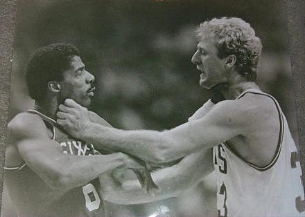 1984 Sixers vs Celtics LARRY BIRD AND DR J FIGHT