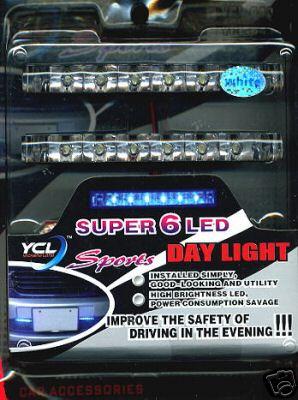 Super 6 LED Sports Day Light Car Universal White Lamp