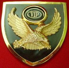 """Car Front Grille Emblem Badge Metal """"Gold Eagle VIP"""""""