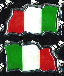 Car Chrome Badges Emblem Italy Flag X 2 ~US. SELLER~