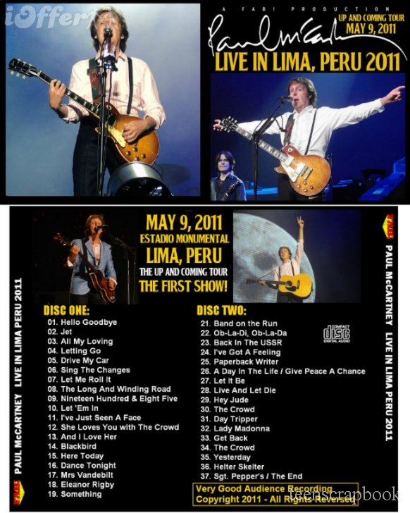 PAUL McCARTNEY LIVE IN LIMA PERU Concert 2011 2 CD SET