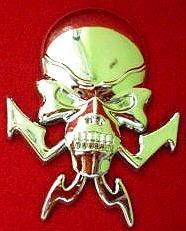 "Car Chrome Badge Emblem Sticker ""Skull Ghost"" 2 pcs"