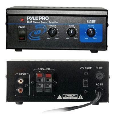 Pyle Home PCA2 Mini 2 x 40-Watt Stereo Power Amplifier