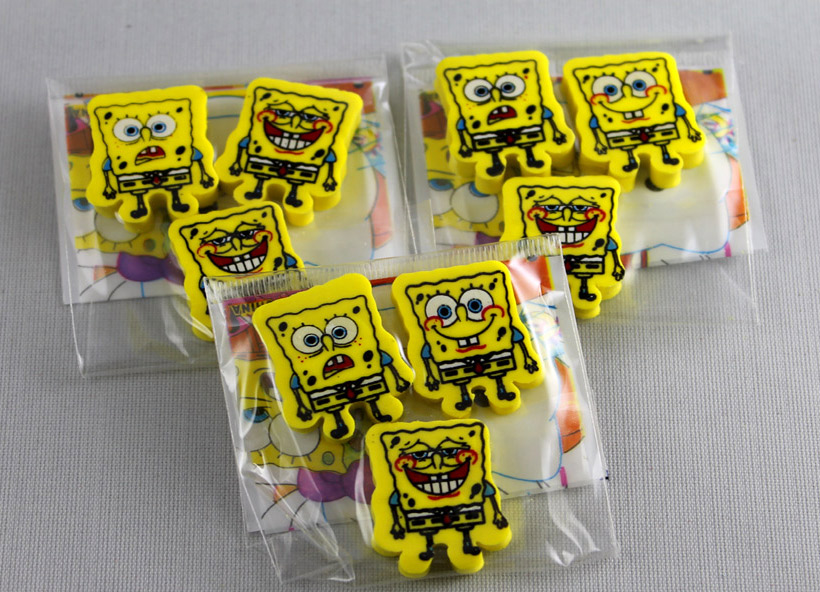 Free Shipping!Retail and wholesale/Lovely SpongeBob eraser/Christmas gift/2011new School supplies