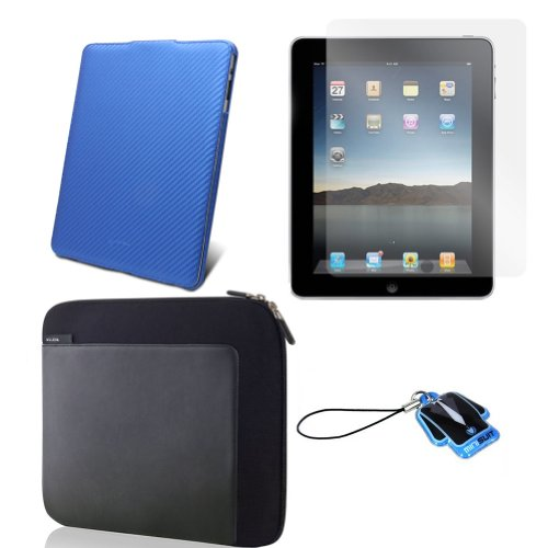 (Blue Carbon Cover) Apple iPad skin silicone case /