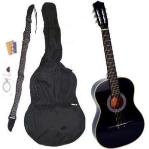 """38"""" Inch Student Beginner Black Acoustic Guitar with"""