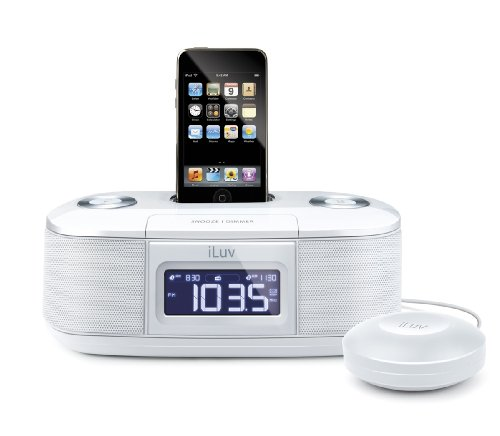 iLuv iMM153WHT Dual Alarm Clock with Bed Shaker for