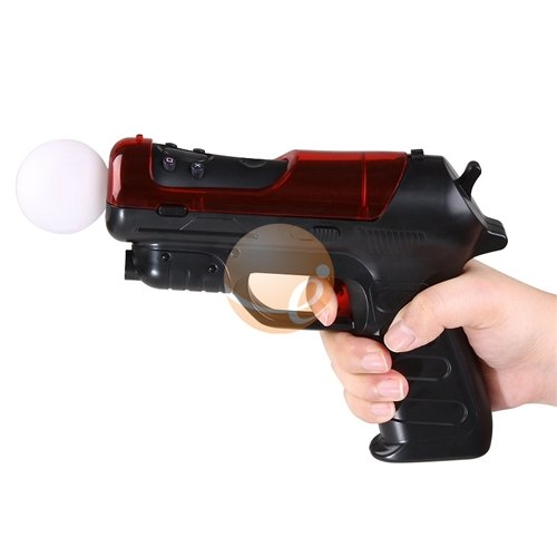 Hand Gun for Sony PlayStation 3 Move, Black / Red PS3