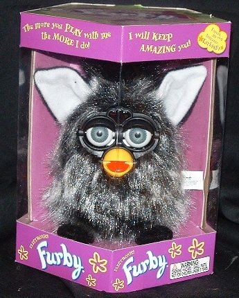 "Furby Model 70-800 ""Mink"" Black + Gray Long Hair Shag"