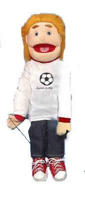 "Sunny Puppets 28"" Boy - Blonde Boy Soccer Top Puppet"