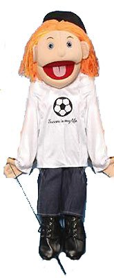 """Sunny Puppets 28"""" Girl - Red Haired Girl Soccer Top"""