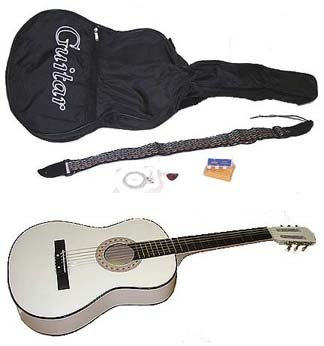 """38"""" White Acoustic Guitar With Accessories - Extra"""