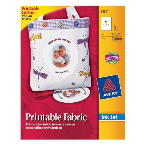 Avery Printable Fabric for Inkjet Printers, 8.5 Windows