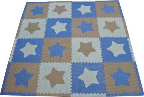 Tadpoles 16 Sq Ft Stars Playmat Set, Blue/Grey