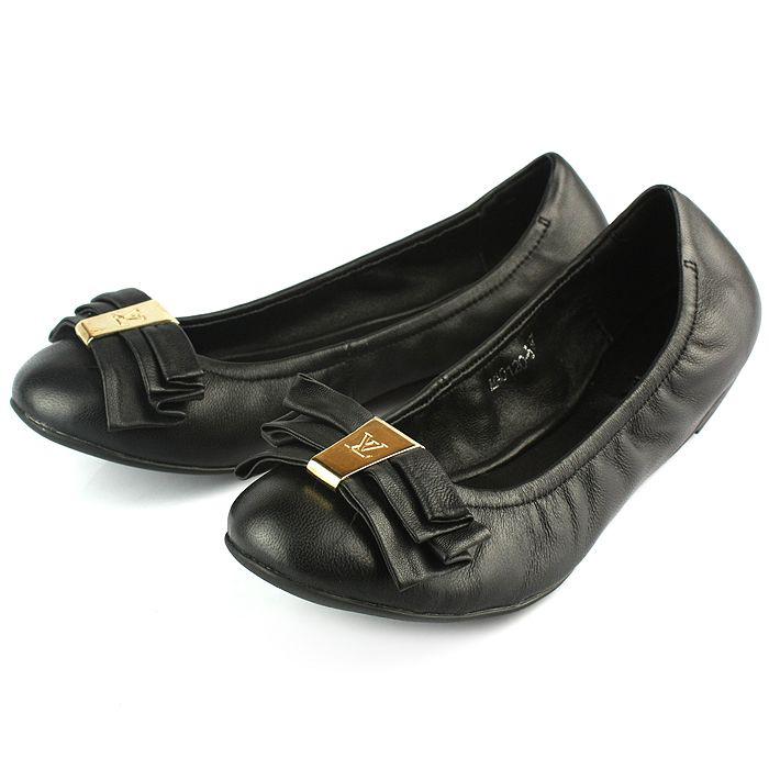 New Louis Vuitton Black Cowhide Leather Shoes 089
