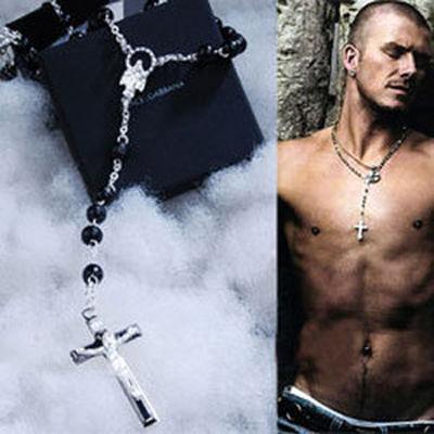 Dolce & Gabbana D&G black beads rosary necklace chain cross pendant