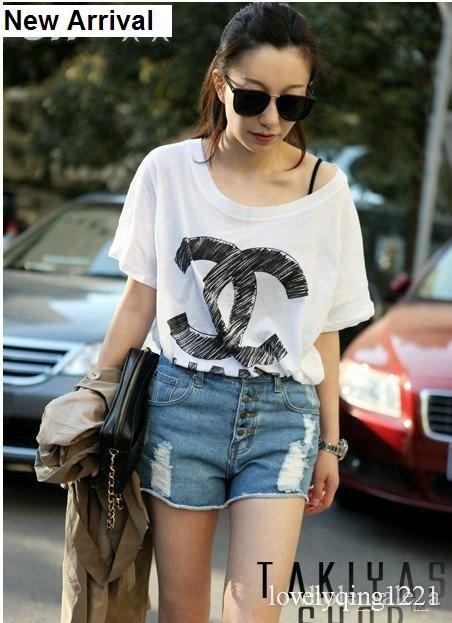 Chanel CC womens girls loose style t shirt shirt white black grey