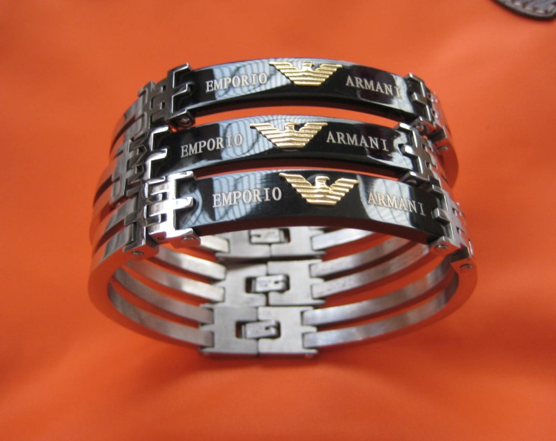 Armani mens womens silver black solid stainless steel bangle bracelet