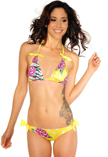 womens ED hardy bikini underwear swimming wear yellow