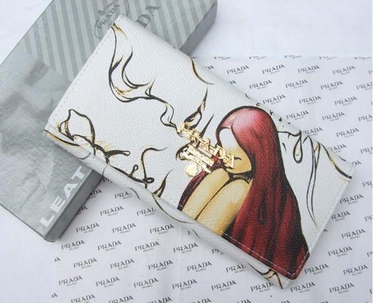womens Prada Fairies Fairy White wallet purse credit card holder
