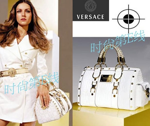 womens Versace tote handbag bag purse with gold hardware white / black