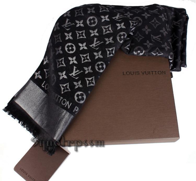 Louis Vuitton lv MonoGram Lurex Scarf Shawl wraps scarves M72252