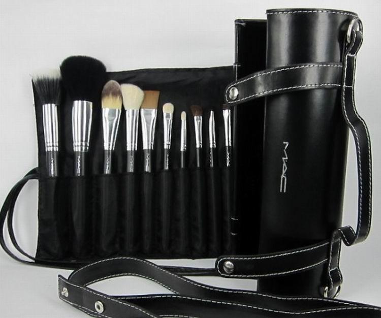 16pcs mac black brushes brush womens girls make up makeup cosmetics