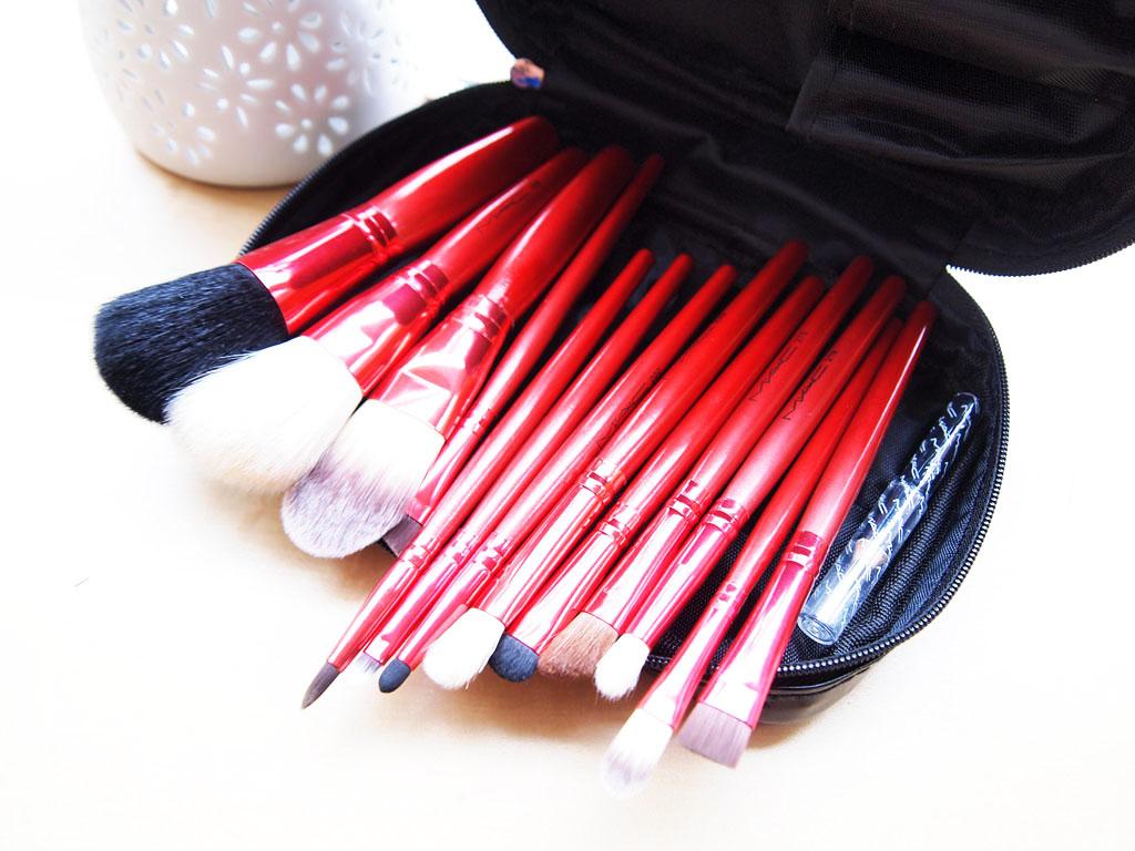 12pcs mac red brushes brush womens girls make up makeup cosmetics