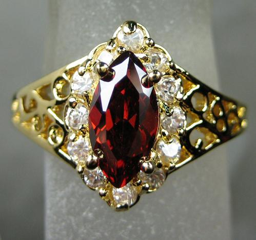 womens mens fashion 14k yellow gold filled ruby ring gem party rings