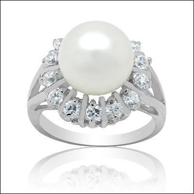 womens classical 14k white gold filled pearl zircon ring rings gift