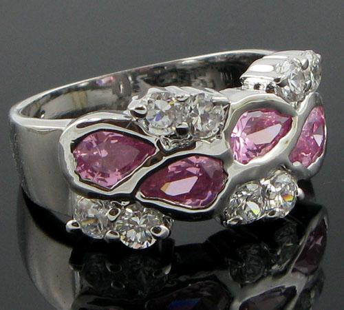 women classical 14k white gold filled pink zircon garnet ring gift