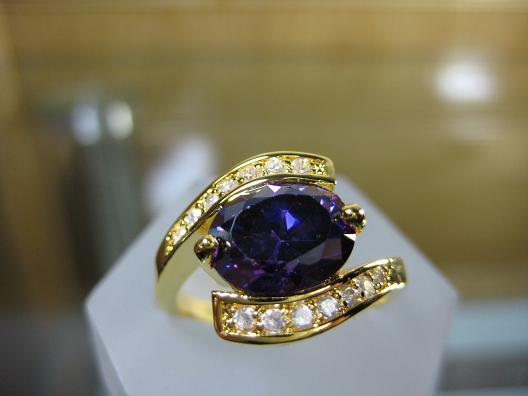 women fashion 14k yellow gold filled purple zircon amethyst  ring  gem
