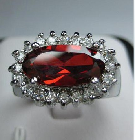 women classical jewelry 14k white gold filled red crystal ring ruby
