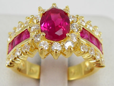 women classical gem new14k yellow gold filled rose red zircon ring new