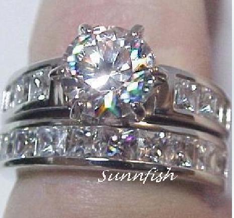 women men lovers 14k white gold filled white zircon clear ring gem