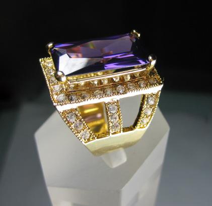 women elegant 14k yellow gold filled purple zircon amethyst ring
