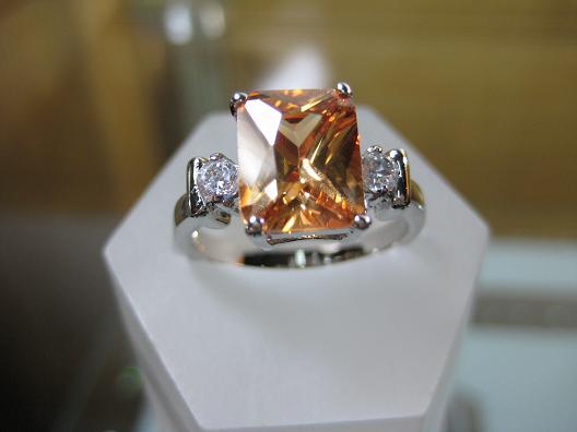 women elegant 14k white gold filled champagne zircon ring party gem