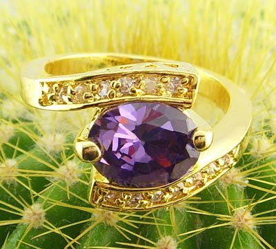 women elegant 14k yellow gold filled purple zircon ring amethystine