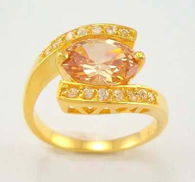 women elegant 14k yellow gold filled zircon champagne ring gift new