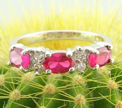 women elegant 14k white gold filled rose red zircon ring gem new gift