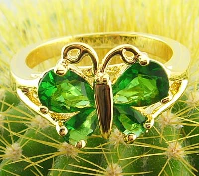 women 14k yellow gold filled green zircon emerald ring butterfly new