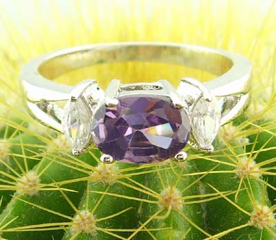 women 14k white gold filled purple zircon ring gem gift new amethyst