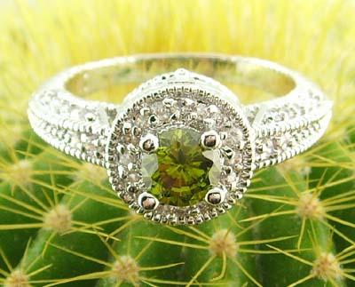 women 14k white gold filled green zircon ring gem gift new emerald