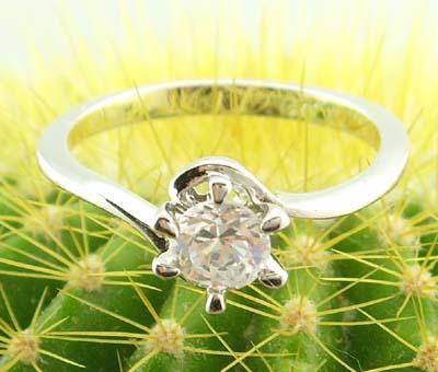 women fashion 14k white gold filled clear zircon wedding ring gem new