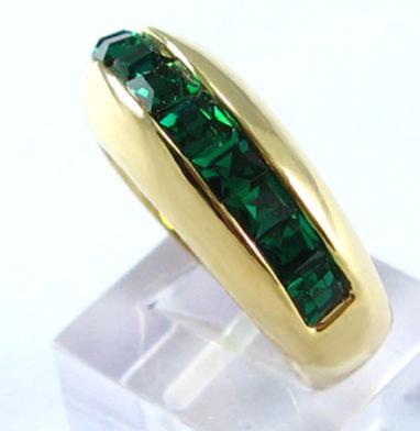 women fashion 14k yellow gold filled green zircon wedding ring emerald