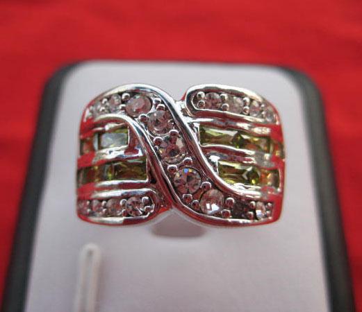 women fashion 14k white gold filled green zircon wedding ring new gift