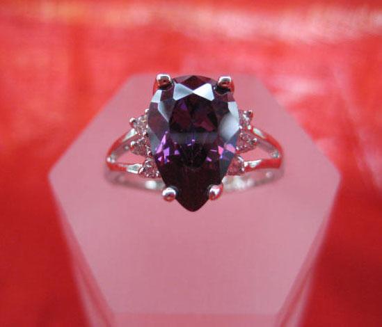 women classical 14k white gold filled purple zircon wedding ring  new